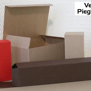 Foto delle scatole per confezioni dello Scatolificio Eugubino - modello Venus Pieghevole color Sabbia (avana) Carruba e Rosso